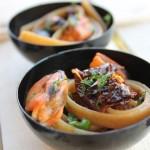 Tagliatelle con trito  di  Pomodorini secchi e Cozze